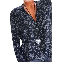Berrylook V Neck Loose Fitting Print Blouses online sale, shop, white blouses for women, shirts & tops
