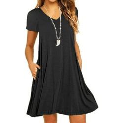 Berrylook V Neck Plain Shift Dress sale, stores and shops, Fitted Shift Dresses, short sleeve shift dress, womens linen clothing