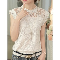 Berrylook Band Collar Elegant Lace Sleeveless Blouse sale, online sale, Solid Blouses, summer tops for women, black blouse