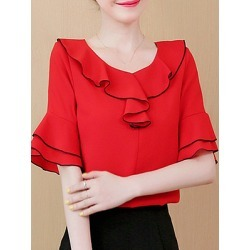 Berrylook Round Neck Patchwork Bell Sleeve Blouse online sale, sale, splice Blouses, tops for women, red blouse