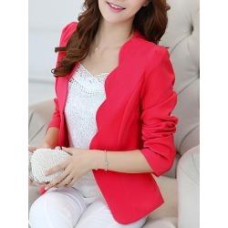 Berrylook Scallop Neck Single Button Plain Blazer online shop fashion store womens casual blazers fitted blazer womens