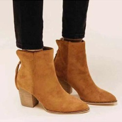 Berrylook Plain Chunky Point Toe Boots stores and shops, online sale, plain Boots,