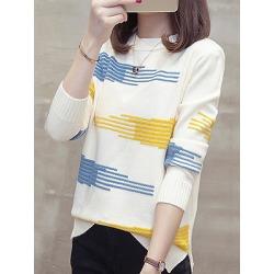 Berrylook Round Neck Elegant Printed Long Sleeve Knit Pullover online sale, shop, v neck sweater, knit cardigan