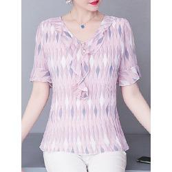 Berrylook V Neck Print Short Sleeve Blouse cheap online shopping sites, sale, printing Blouses, blouses for women, tunic tops for women
