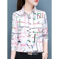 Berrylook Turn Down Collar Printed Long Sleeve Blouse online sale, cheap online stores, printing Blouses, red blouse, shirts for women