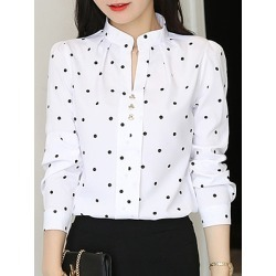 Berrylook V Neck Dot Long Sleeve Blouse online sale, sale, tops for women, red blouse
