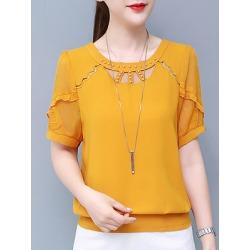Berrylook Round Neck Patchwork Beading Plain Short Sleeve Blouse sale, online sale, splice Blouses, peasant blouse, shirts for women