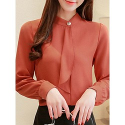 Berrylook BandCollar Elegant Plain Long Sleeve Blouse online sale, online, Solid Blouses, summer tops for women, cute tops for women