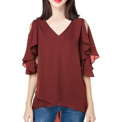 Berrylook V Neck Plain Short Sleeve Blouse online sale, online, tunic tops for women, silk blouse