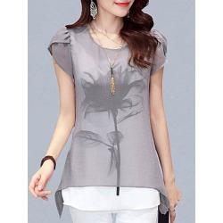 Berrylook Round Neck Patchwork Short Sleeve Blouse online sale, online, splice Blouses, white blouses for women, blouses for women