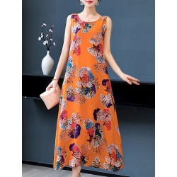 Berrylook Mid-length Printed Sleeveless Loose Dress online, clothes shopping near me, semi formal dresses, shirt dress found on MODAPINS from Berrylook for USD $20.95