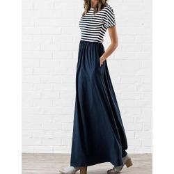 Berrylook Round Neck Patch Pocket Striped Maxi Dress online sale, cheap online stores, Empire Maxi Dresses, sheath dress, vintage dresses