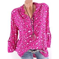 Berrylook Women's V Neck Leopard Long Sleeve Blouse online sale, cheap online stores, Leopard Blouses, shirts for women, red top