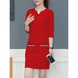 Berrylook V Neck Fashion Shift Dress sale, cheap online stores, printing Shift Dresses, below the knee dresses, linen dress