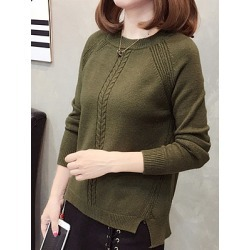 Berrylook Round Neck Plain Long Sleeve Knit Pullover sale, online sale, Long Pullover, cardigan, v neck sweater