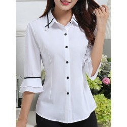 Berrylook Spring Summer Polyester Women Turn Down Collar Single Breasted Contrast Piping Plain Half Sleeve Blouses sale, clothing stores, shirts for women, womens shirts