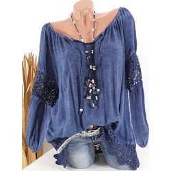 Berrylook Tie Collar Star Patchwork Lace Blouse clothing stores, online sale, splice Blouses, shirts for women, summer tops