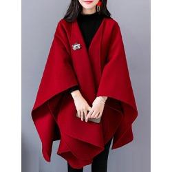 Berrylook Collarless Plain Cape Sleeve Coat online, online shop, black coat womens, bubble coat