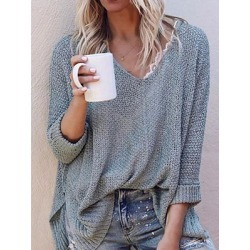 Berrylook V Neck Plain Long Sleeve Knit Pullover online sale, sale, long cardigan, wool sweater