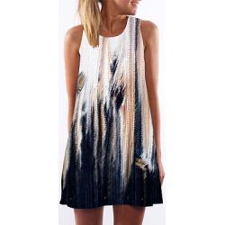 Berrylook Round Neck Printed Shift Dress sale, online, shift dress, womens linen clothing