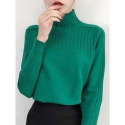 Berrylook Short High Collar Elegant Plain Long Sleeve Knit Pullover clothing stores, shoppers stop, Solid Pullover, cardigan sweaters for women, turtleneck sweater