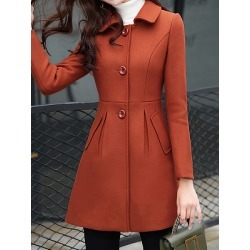 Berrylook Lady lapel collar single breasted coat cheap online stores, stores and shops, Solid Coats, fall jackets, cute winter coats