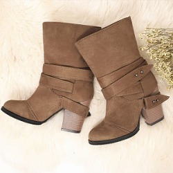 Berrylook Plain Chunky Round Toe Boots stores and shops, online sale,