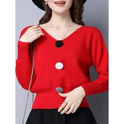 Berrylook V Neck Christmas Cute Decorative Button Plain Batwing Sleeve Long Sleeve Knit Pullover shop, sale, long cardigan, cardigan sweaters for women