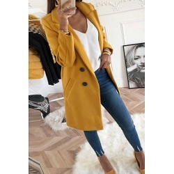 Berrylook Fold Over Collar Double Breasted Plain Outerwear clothing stores, online sale, warm jackets for women, parka jacket women