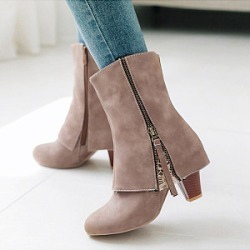Berrylook Distressed Plain Chunky Round Toe Boots shop, stores and shops,