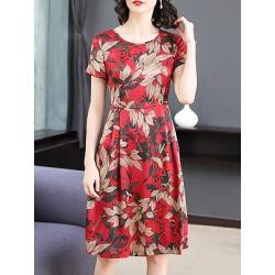 Berrylook Round Neck Printed Shift Dress shop, sale, printing Shift Dresses, petite dresses, below the knee dresses