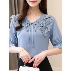 Berrylook V Neck Elegant Patchwork Short Sleeve Blouse cheap online stores, sale, splice Blouses, cute tops, button up shirts for women