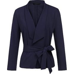 Berrylook Shawl Collar Belt Plain Blazer cheap online shopping sites, online shop, navy blue blazer women, black blazer for women