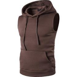 Berrylook Solid Sleeveless Kangaroo Pocket Men Hoodie online sale, fashion store, Plain Men Hoodies,