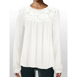 Berrylook Autumn Spring Polyester Women Round Neck Decorative Lace Plain Long Sleeve Blouses shop, online shop, white top, work blouses found on Bargain Bro Philippines from Berrylook for $18.95