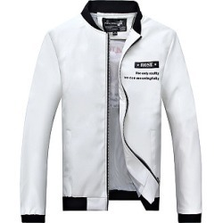 Berrylook Band Collar Pocket Letters Printed Men Jacket clothes shopping near me, shop, Letters Men Jackets,
