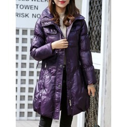 Berrylook Fashion hooded solid color slim belt thickened down coat stores and shops, shoppers stop, Solid Coats, long black coat, winter jacket found on Bargain Bro Philippines from Berrylook for $28.95