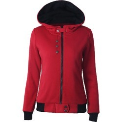 Berrylook Sportive Button Zipper Long Sleeve Pure Colour Hoodies clothes shopping near me, sale, red hoodie, grey hoodie
