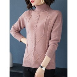 Berrylook Heap Collar Elegant Plain Long Sleeve Knit Pullover clothing stores, shop, cardigan sweaters for women, cardigan sweater