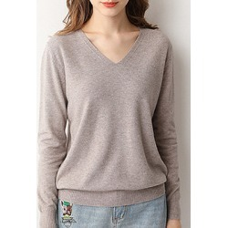Berrylook V Neck Brief Plain Long Sleeve Knit Pullover online, online shop, fall sweaters, red cardigan