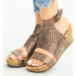 Berrylook Plain Peep Toe Date Travel Wedge Sandals clothing stores, clothes shopping near me,