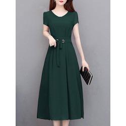 Berrylook V-Neck Drawstring Plain Drawstring Maxi Dress sale, shoping, plain Maxi Dresses, sheath dress, homecoming dresses
