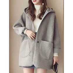 Fashion female students hooded pure color lambswool overcoat
