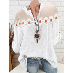 Berrylook V Neck Patchwork Floral Blouse sale, online, splice Blouses, red blouse, white blouses for women
