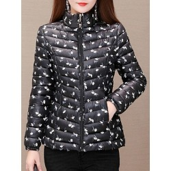 Berrylook Band Collar Printed Coat shoping online shop printed Coats black jacket mens mens coats sale