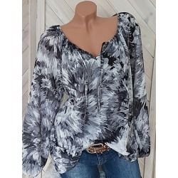 Berrylook Round Neck Lace Up Loose Fitting Color Block Tie Dye Blouses cheap online shopping sites, shop, one shoulder tops, black top found on Bargain Bro Philippines from Berrylook for $18.95