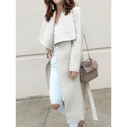 Berrylook Fold-Over Collar Belt Plain Long Sleeve Coats online sale, sale, leather jackets for women, coats & jackets