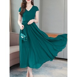 Berrylook V-Neck Plain Maxi Dress online, online stores, Solid Maxi Dresses, semi formal dresses, shirt dress found on MODAPINS from Berrylook for USD $26.95
