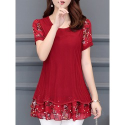 Berrylook Round Neck Patchwork Floral Short Sleeve Blouse online sale, clothes shopping near me, printing Blouses, tops for women, off the shoulder tops