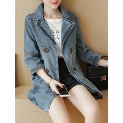Berrylook Women Fold Collar Denim Jacket sale, cheap online stores, Long Jackets, army jacket womens, warm jackets for women